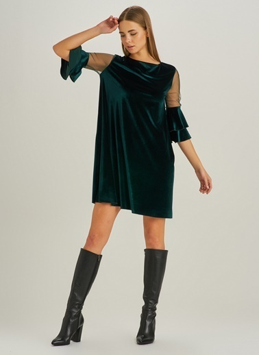People By Fabrika Tül Detaylı Kadife Elbise Yeşil